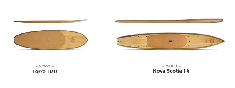 Foto; Earth SUP: Holz-Supboards Torre und Nova Scotia, beide gebraucht und in Koblenz bei SUPNATION erhältlich